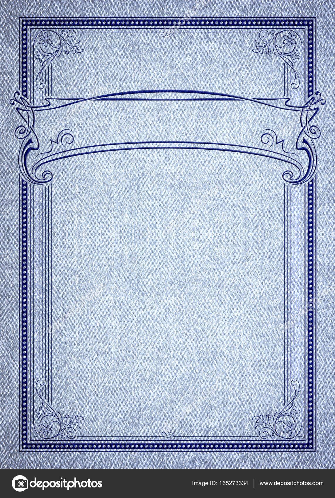 Marco rectangular decorativo y banner en textura denim. Plantilla ...