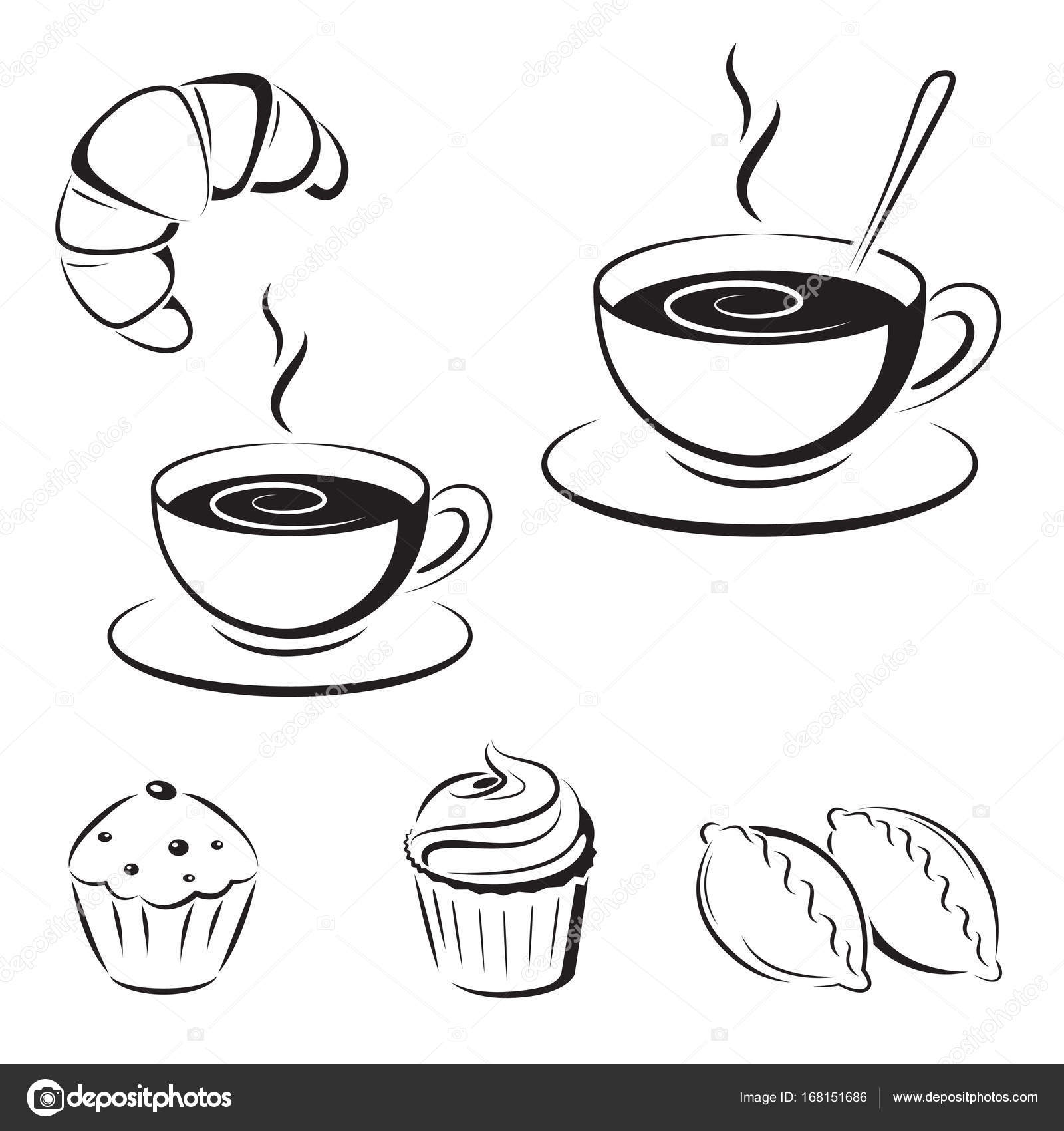 Satz Von Schwarz Skizzen Symbole Eine Tasse Kaffee Und Geback
