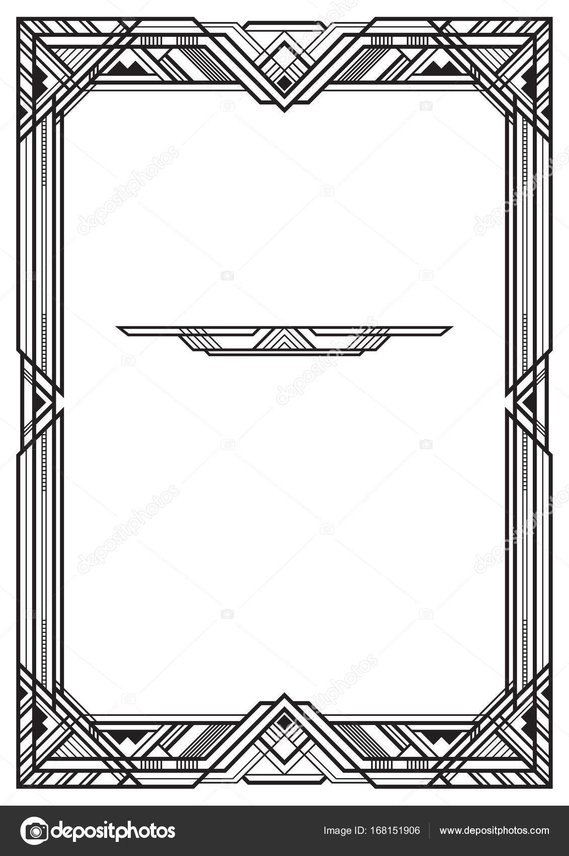 Marco negro rectangular, estilo art deco. Proporciones de página a3 ...