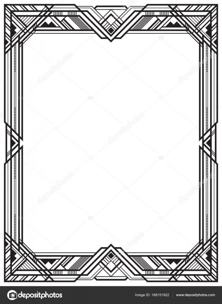 Marco retro negro rectangular, estilo art deco — Vector de stock ...