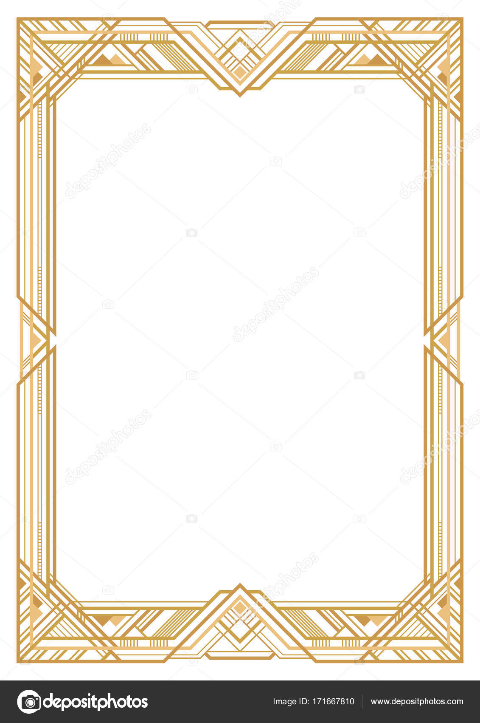 Rectangular Golden Retro Frame Art Deco Style Of 1920s Transparent