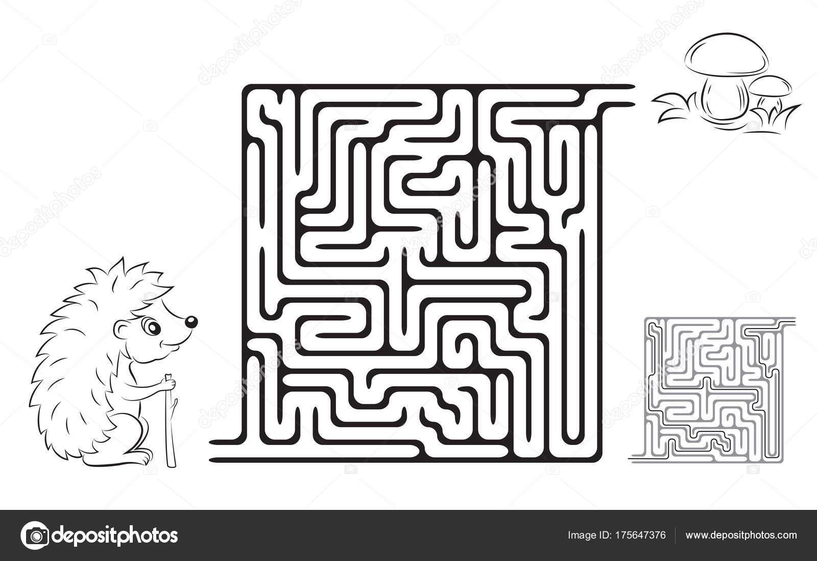Labyrinth Spiel Malvorlagen Für Kinder Mit Bildern Von Einem Igel ...