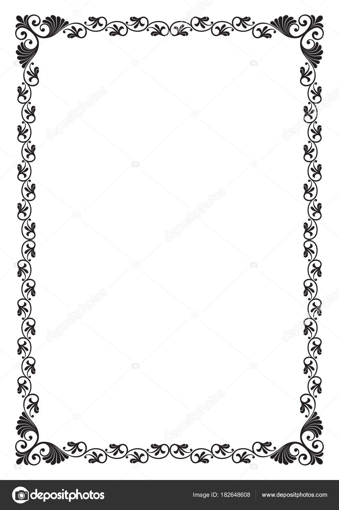 Ornate Black Rectangular Frame Page Proportions Page Decoration ...