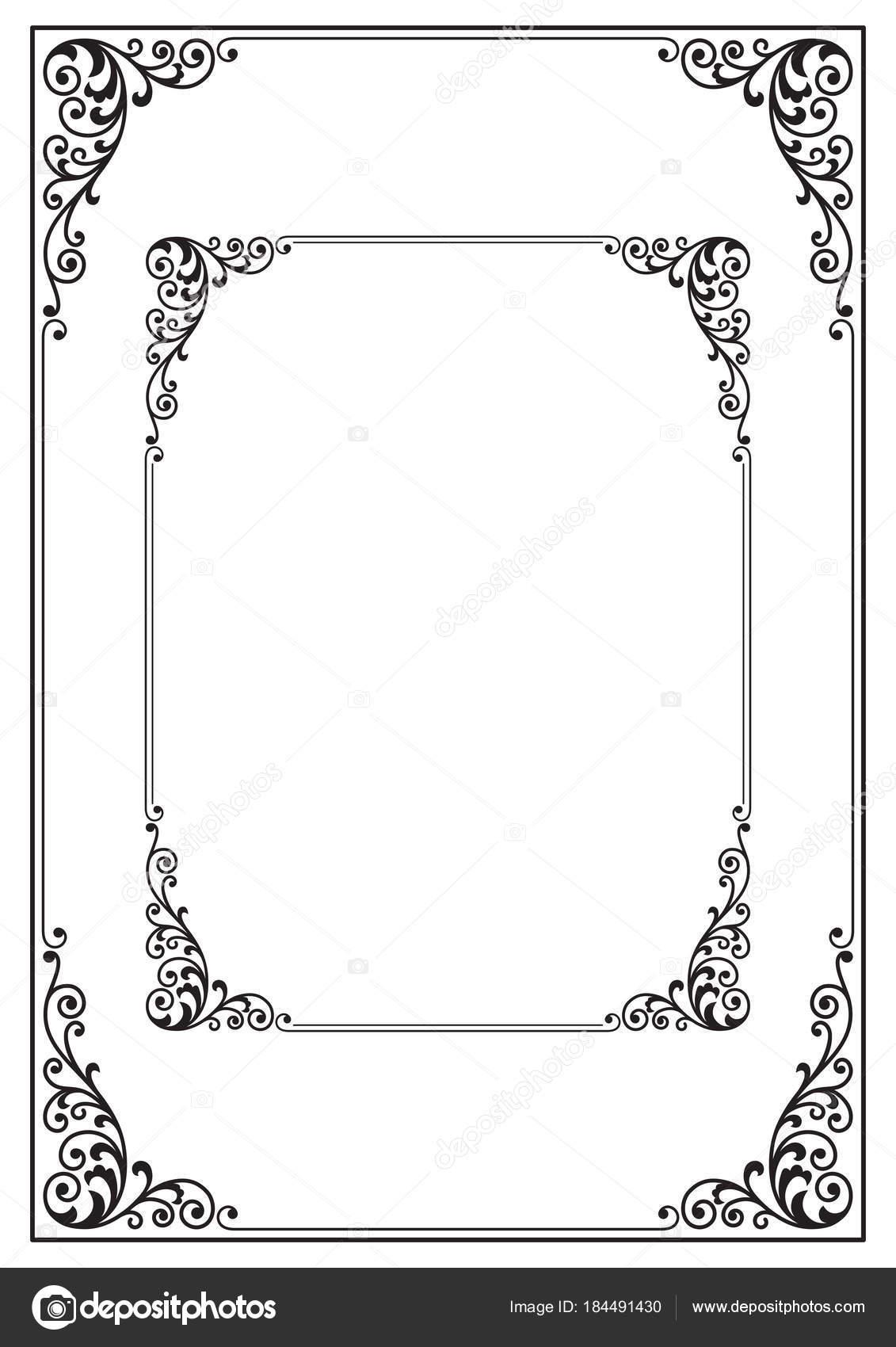 ornate black picture frames plain black ornate black rectangular frames letter proportions page decoration corner element stock vector