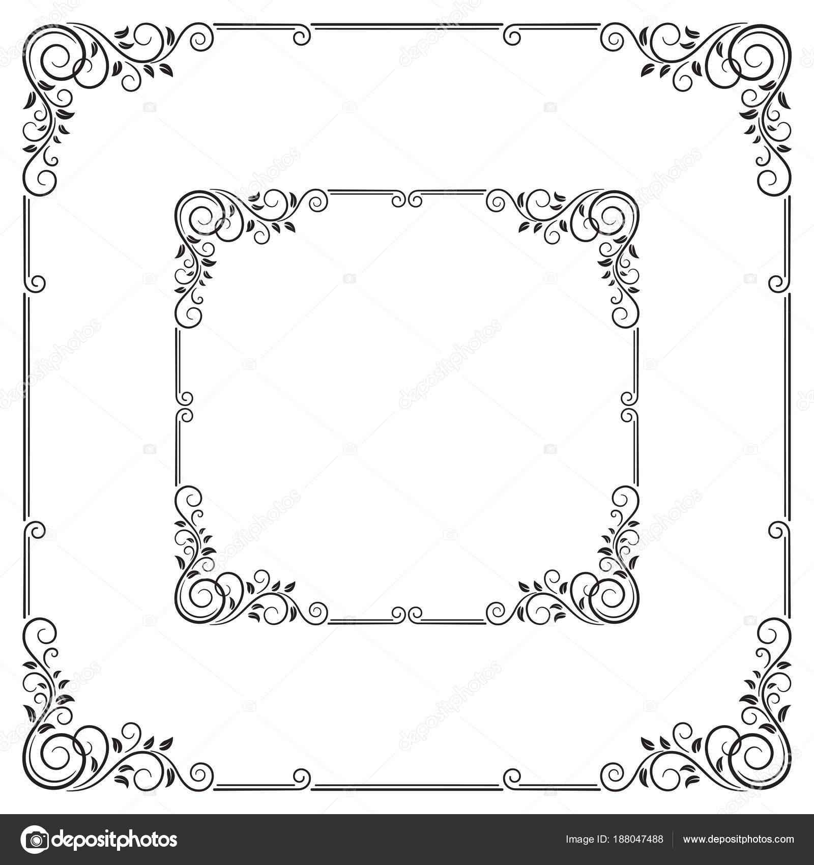 Verzierten Schwarzen Quadratischen Rahmen Für Die Ankündigung Label ...