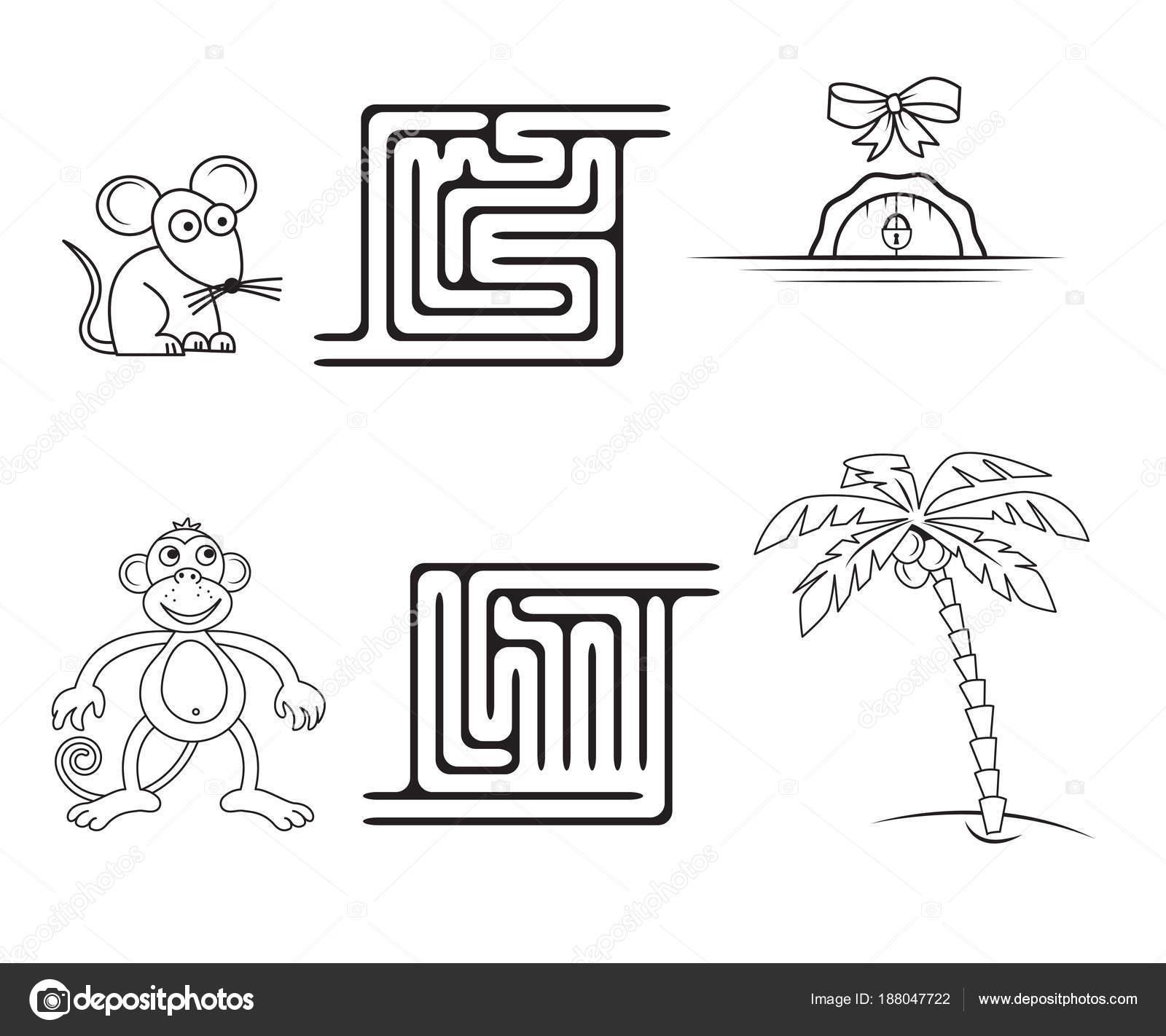 Quadratische Labyrinth Spiel Für Kinder Malvorlagen — Stockvektor ...