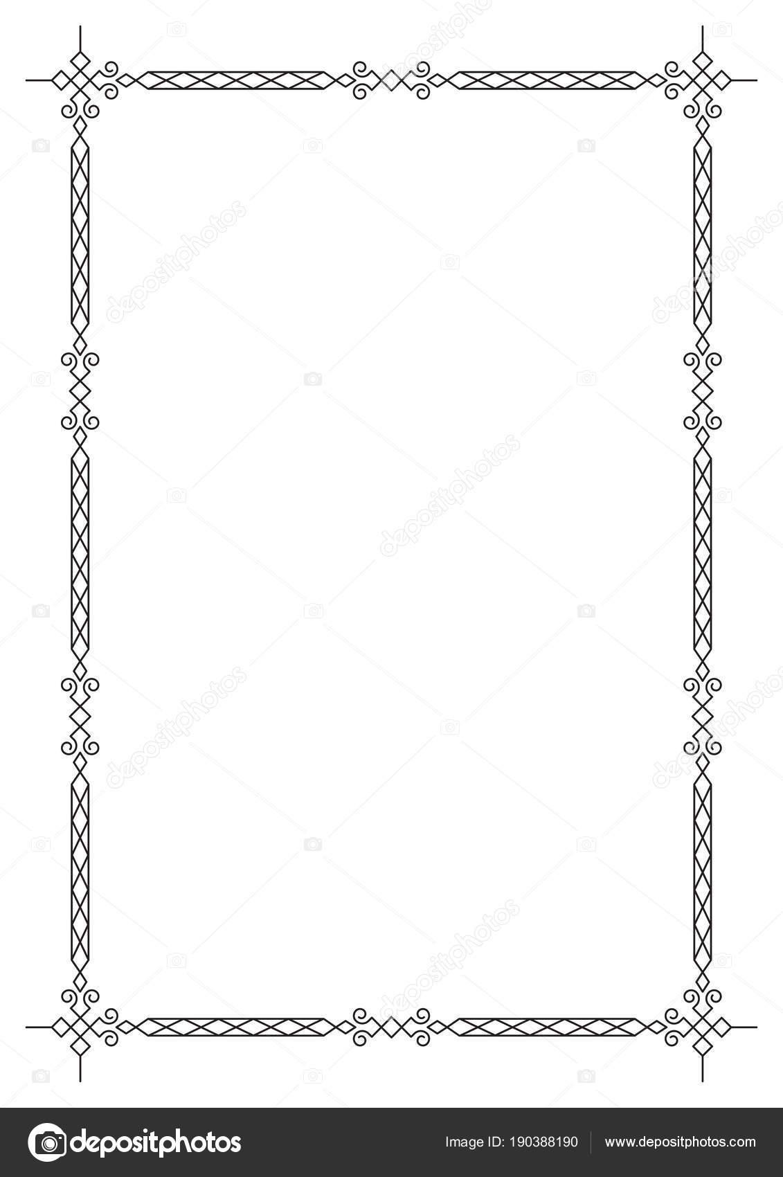 Marco Negro Geométrico Ornamentado Tamaño Página Para Certificado ...