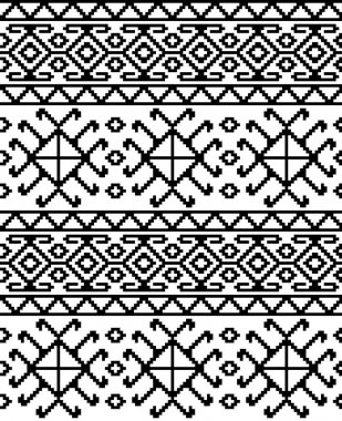 Seamless ethnic Georgian black and white pattern for background, textile.
