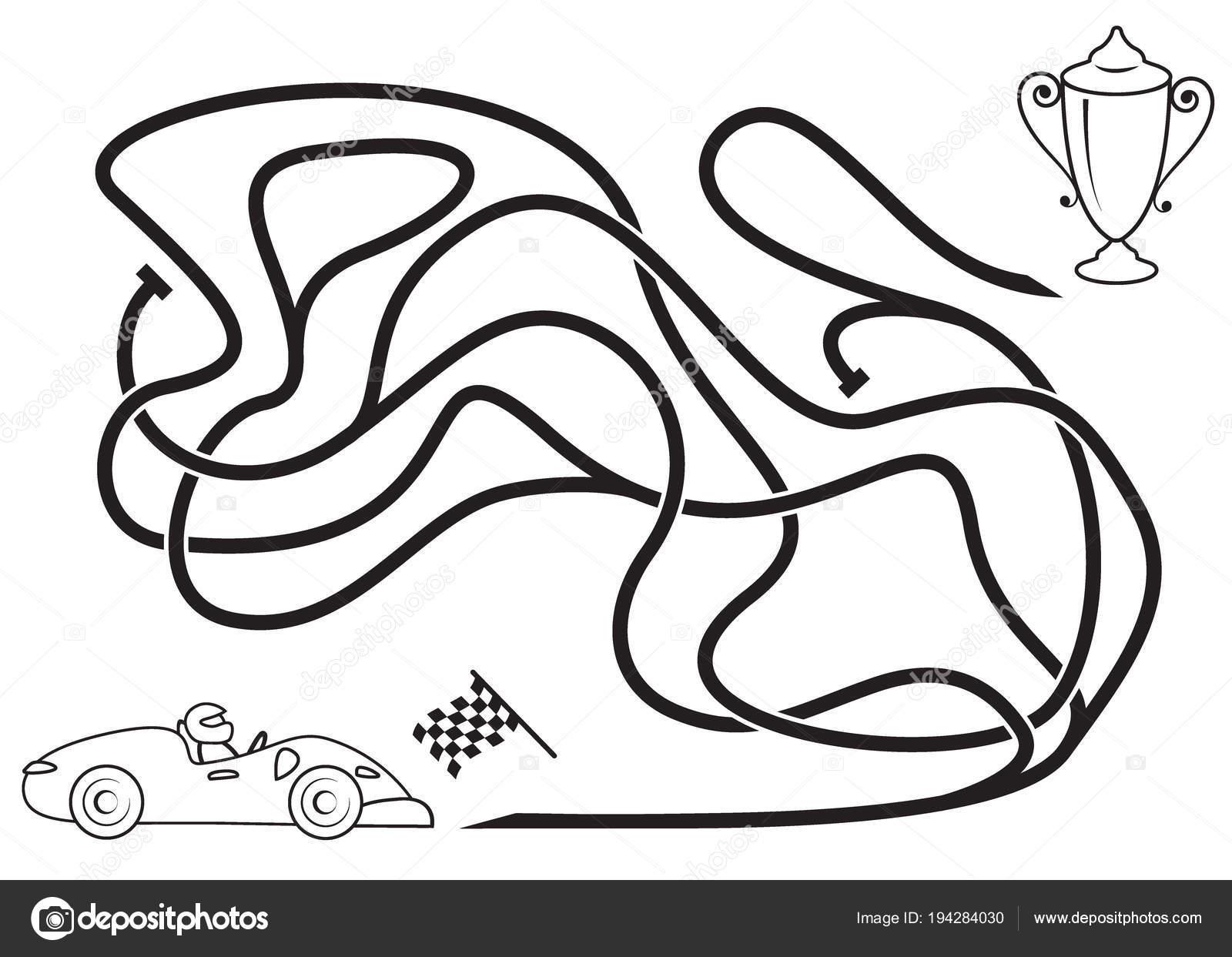 Maze Oyunu çocuklar Için Boyama Sayfası Yarış Arabası ödülü Için
