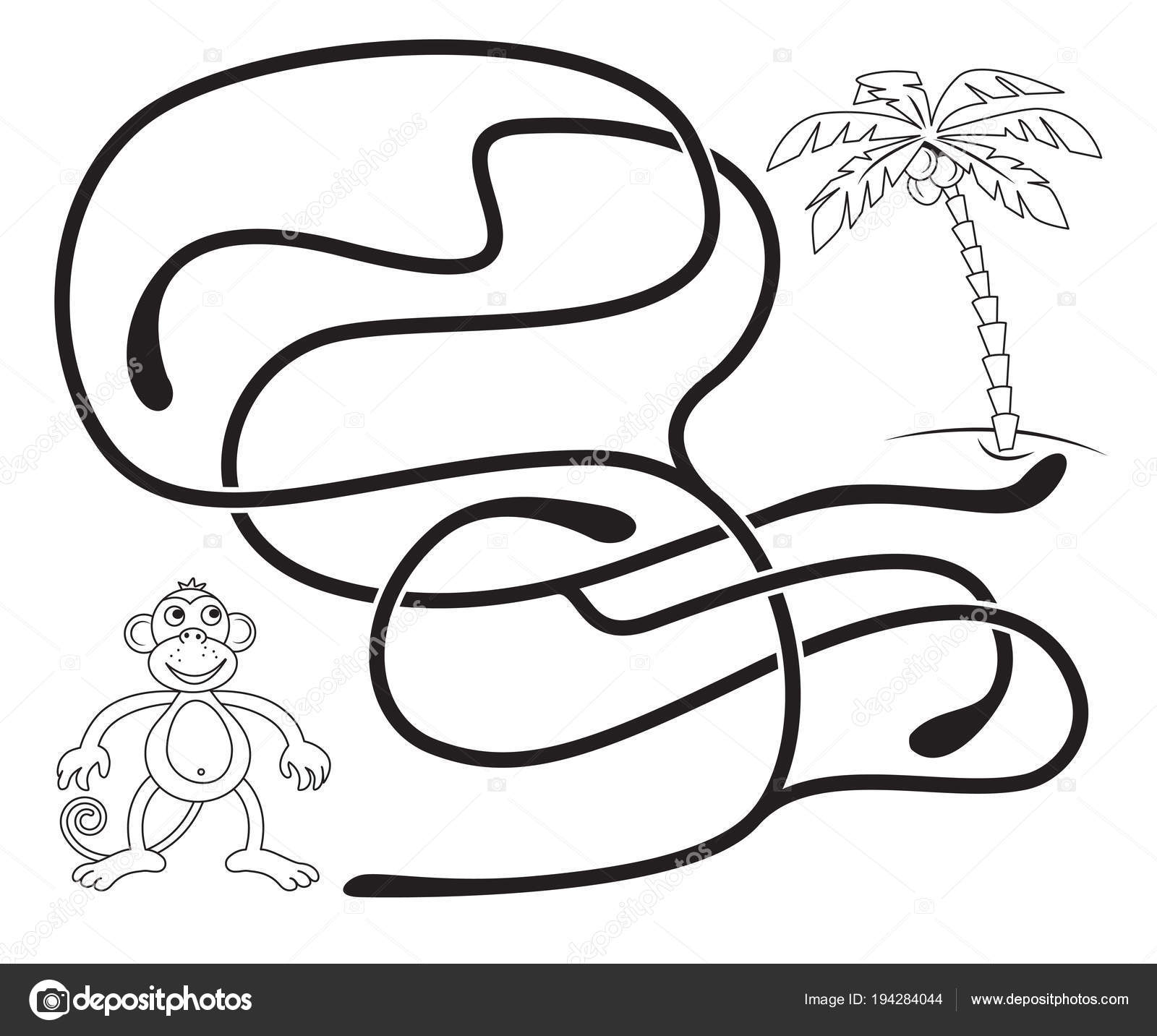 Maze Game Kids Help Monkey Get Coconut Palm Tree Coloring ...