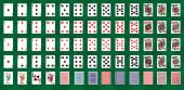 Klassisches Design von Spielkarten mit Jokern und Rückkarten in unterschiedlichen Designs Poker Games, Gambling - Vector