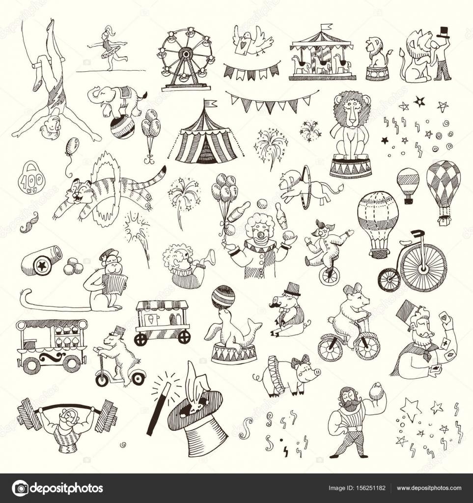 Imágenes Personajes Del Circo Para Colorear Doodle Gente Del