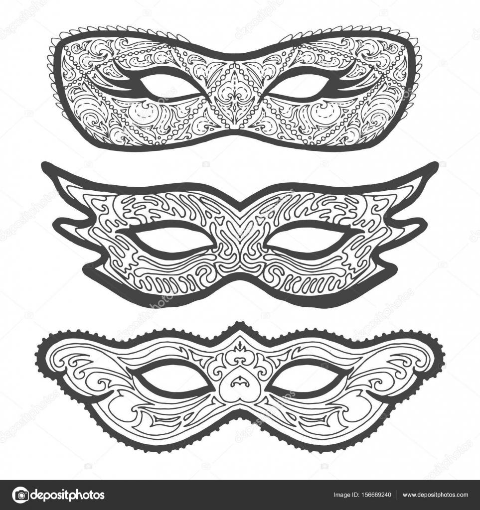 Conjunto de máscaras máscaras de contorno, contorno para colorear ...