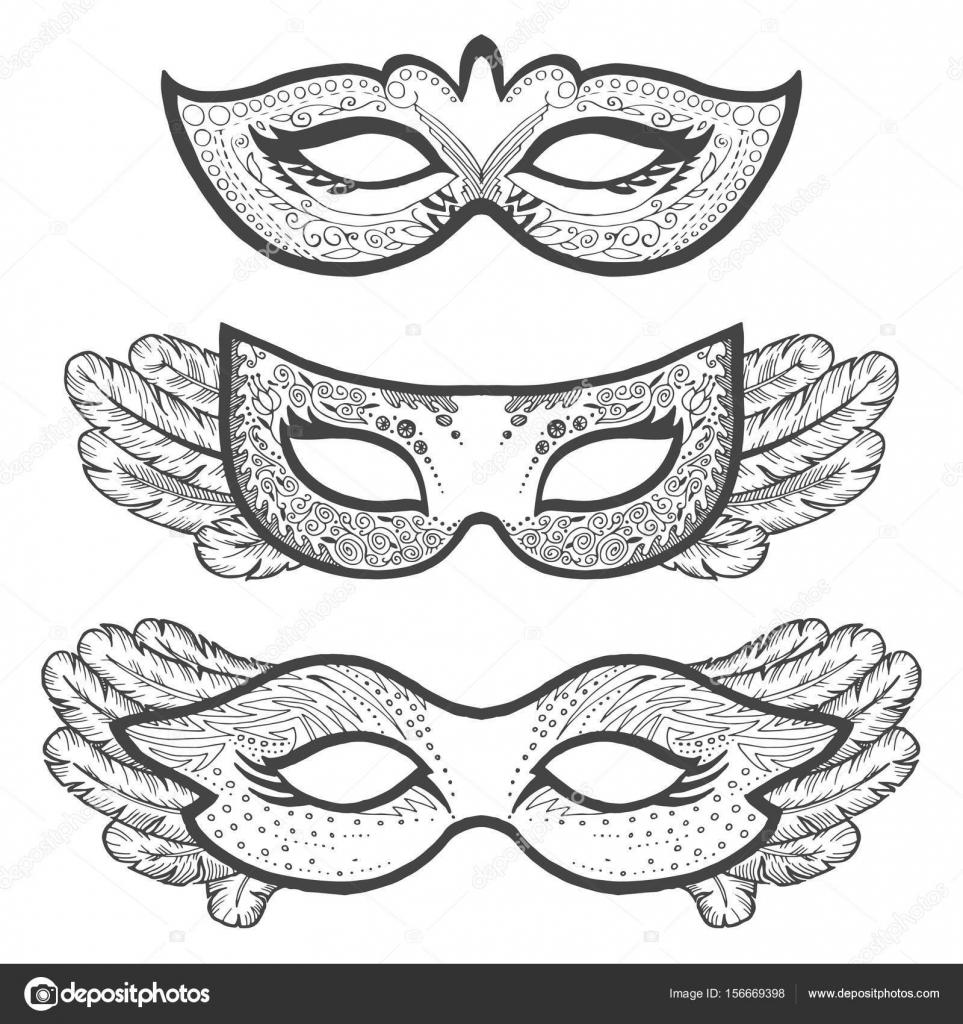 Imágenes Mascara De Teatro Para Colorear Conjunto De Máscaras