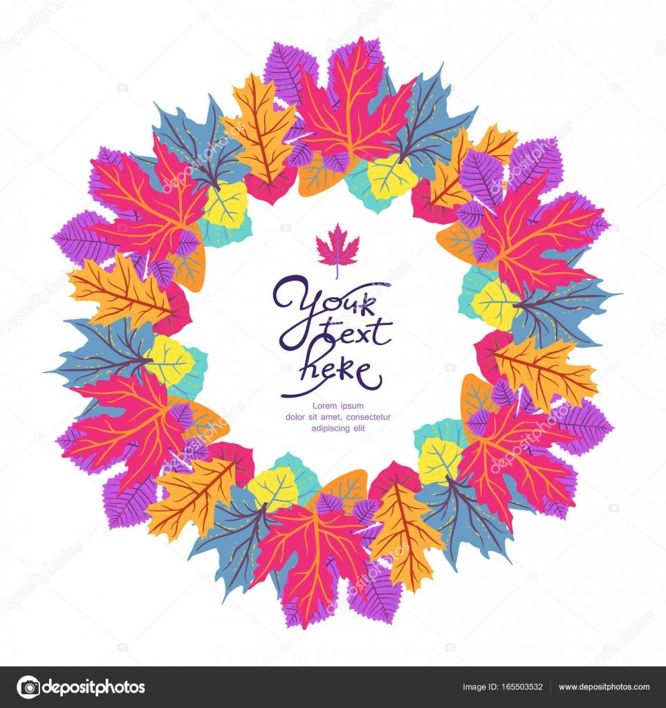 Marco de círculo brillante con hojas y lugar para el texto. Eco ...