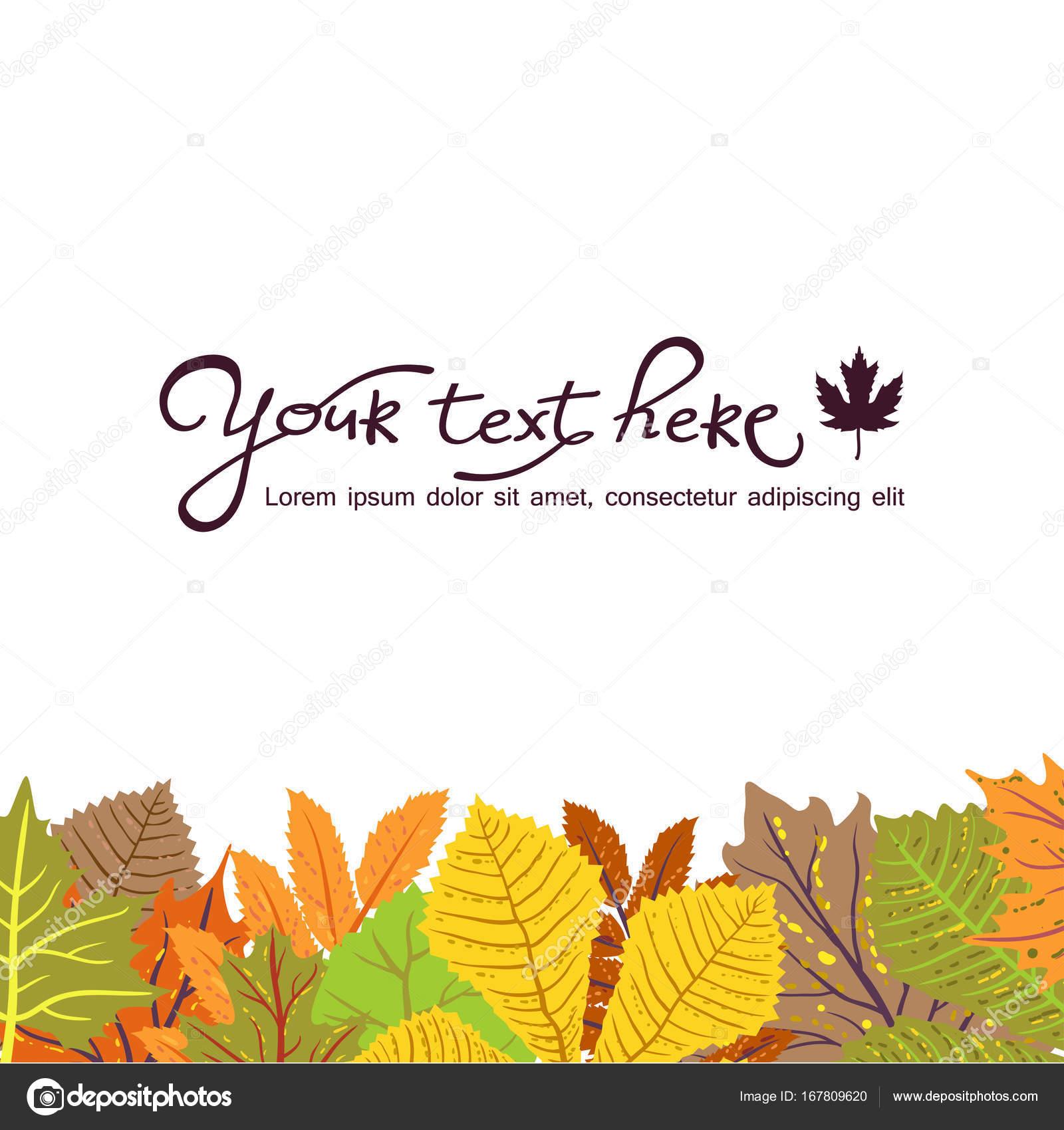 Heller Rahmen mit Blättern und Platz für Ihren Text. Eco-Herbst ...