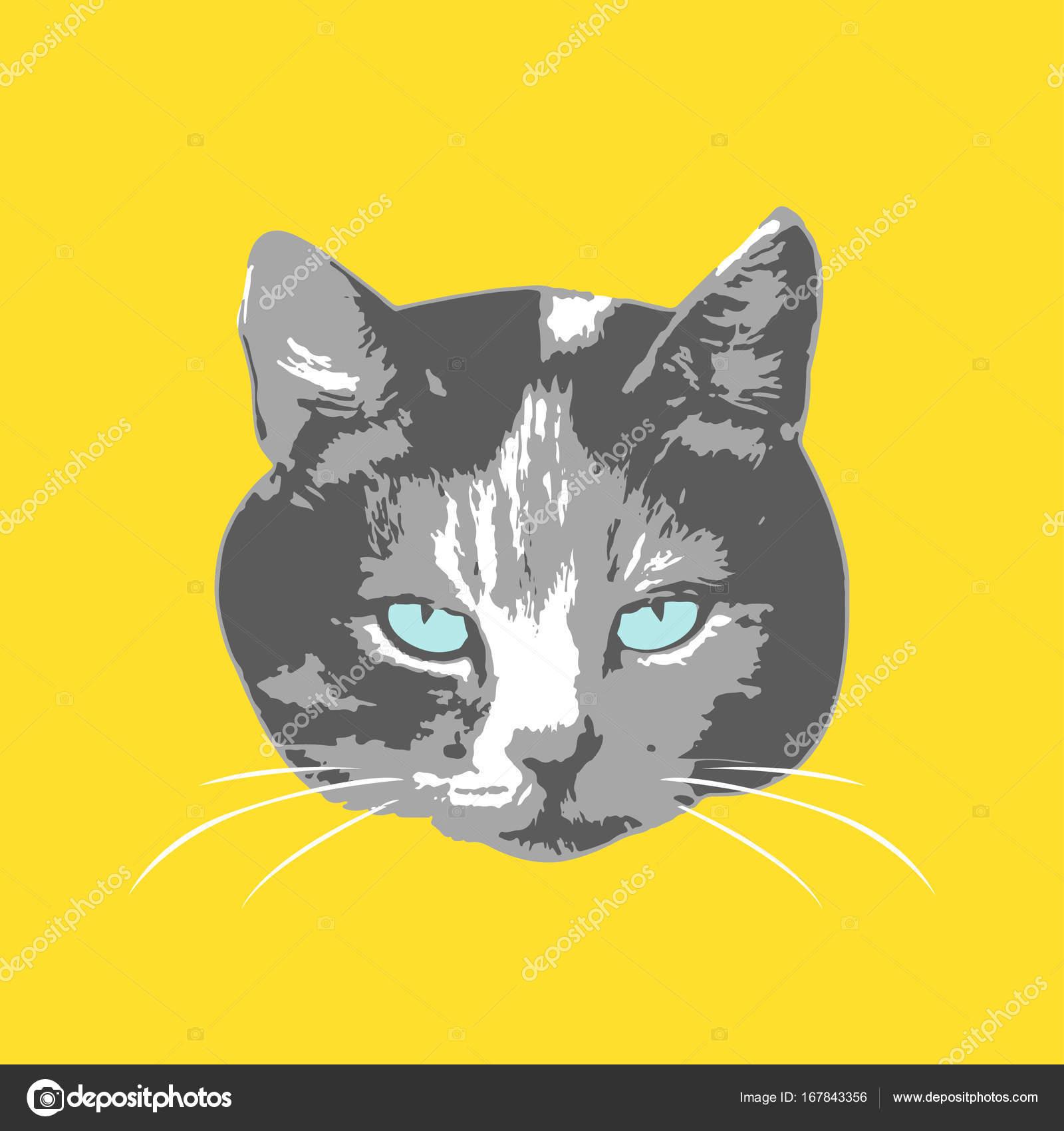Cats Face Cartoon Seamless Animal Wallpaper Stock Vector
