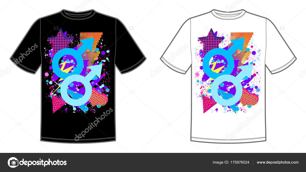 b0f3fcc57 Vector de impresión para la camiseta con brillante símbolo masculino  orgullo de color del arco iris de la lgbt — Vector de jkazanceva