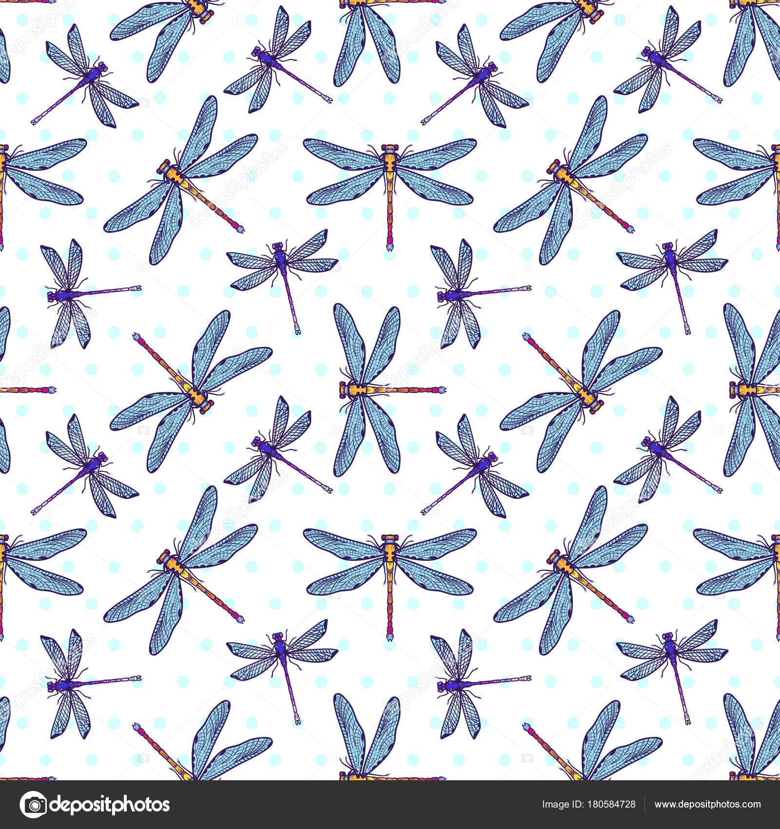 Mano dibujada estilizadas libélulas de patrones sin fisuras para las ...