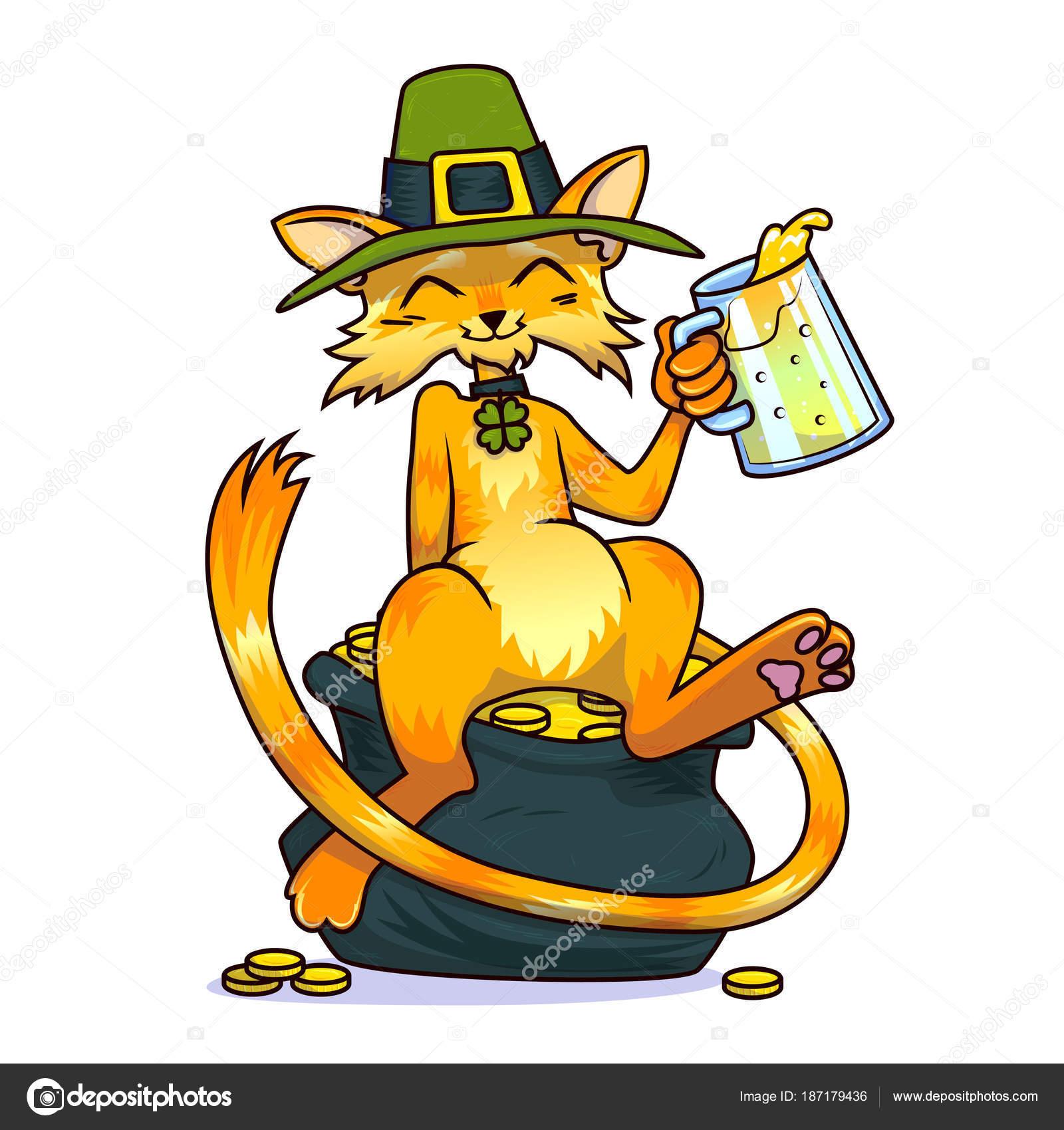 Un gato en un sombrero de duende y una joyería del trébol, beber ...
