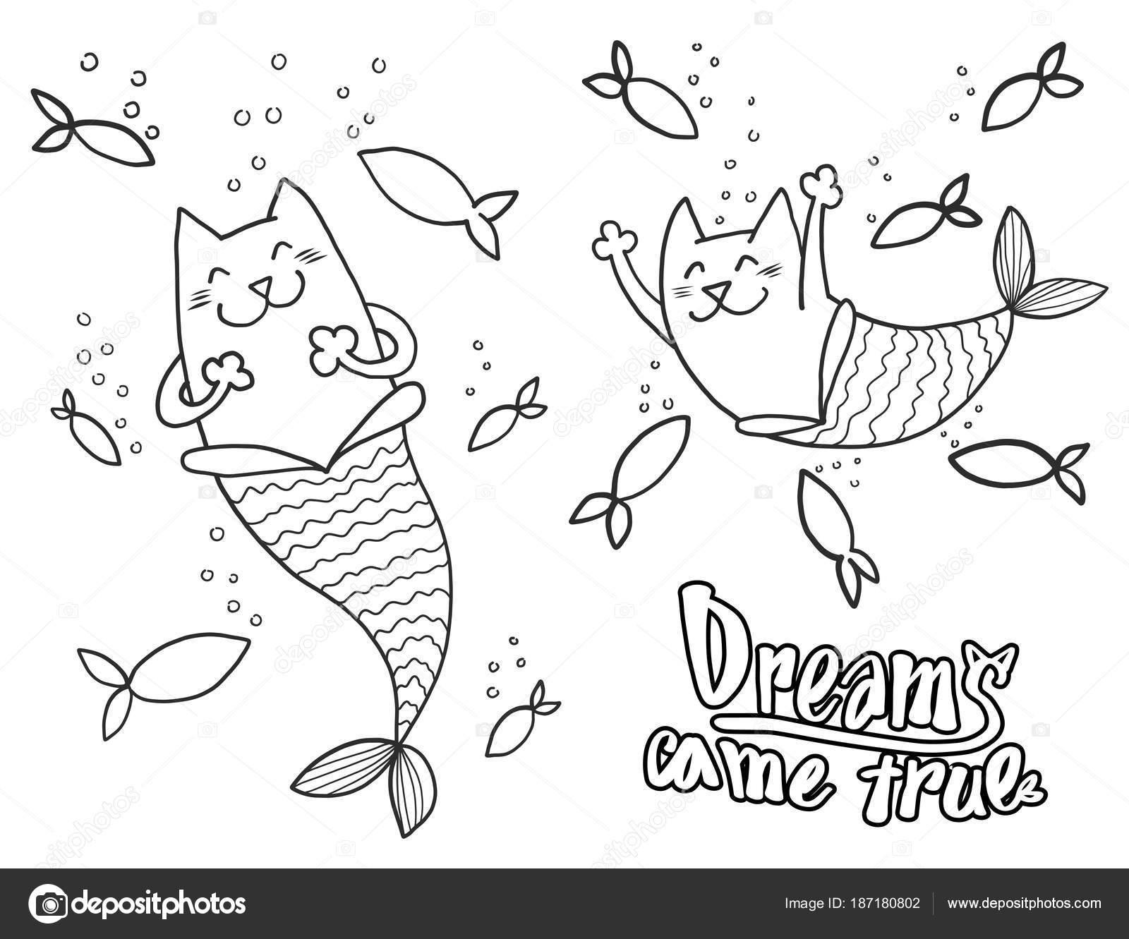 Cartoon Doodle Katze Meerjungfrau Und Fisch Mit Text Träume Kam Wahr