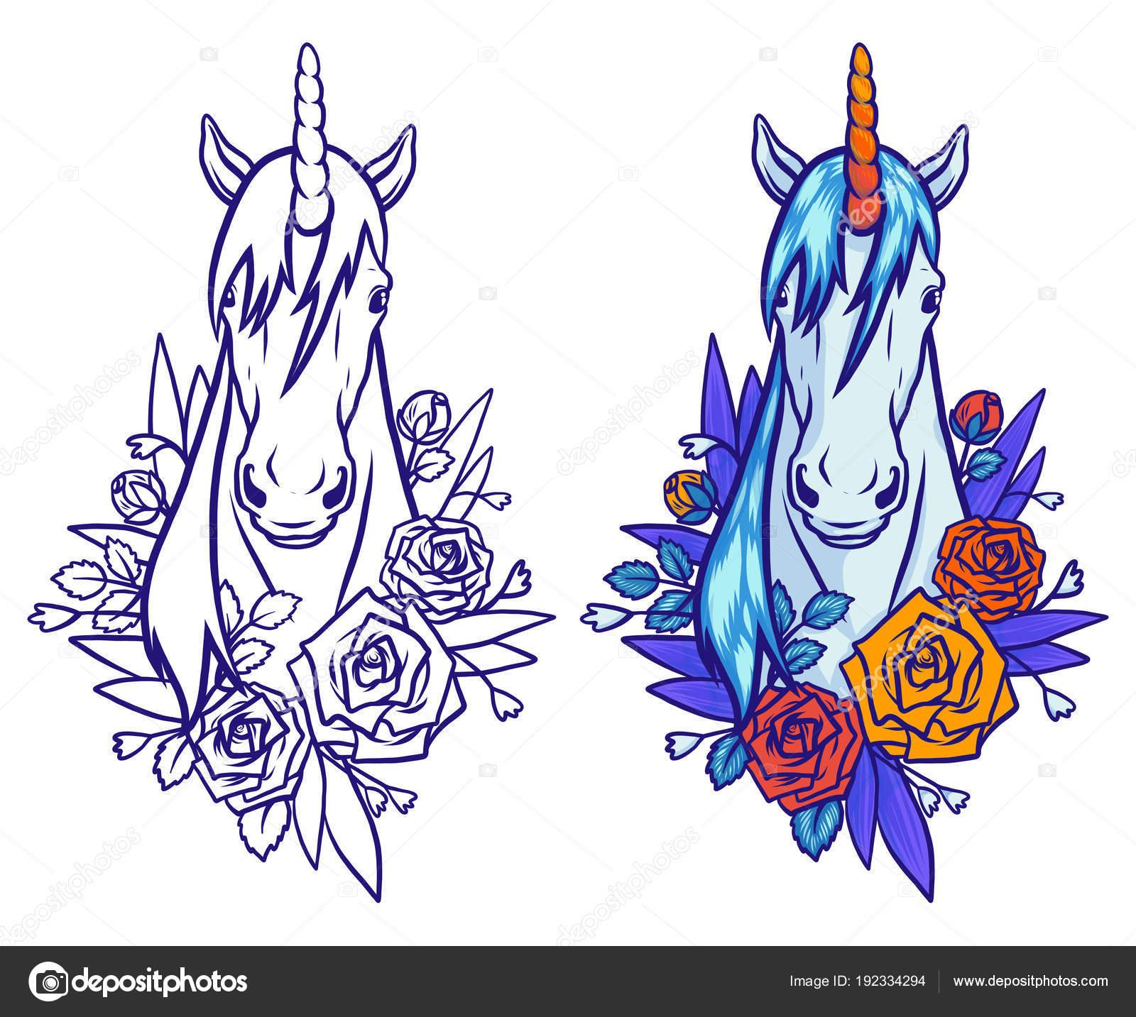 Ilustración de mágico unicornio lindo, dibujos animados de animales ...