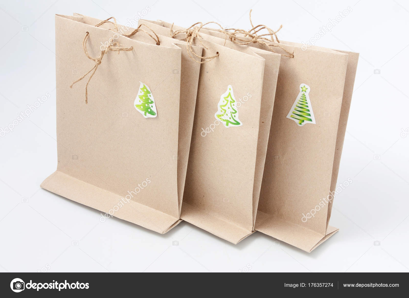simple cheap Christmas packages for gift wrapping. — Stock Photo ...