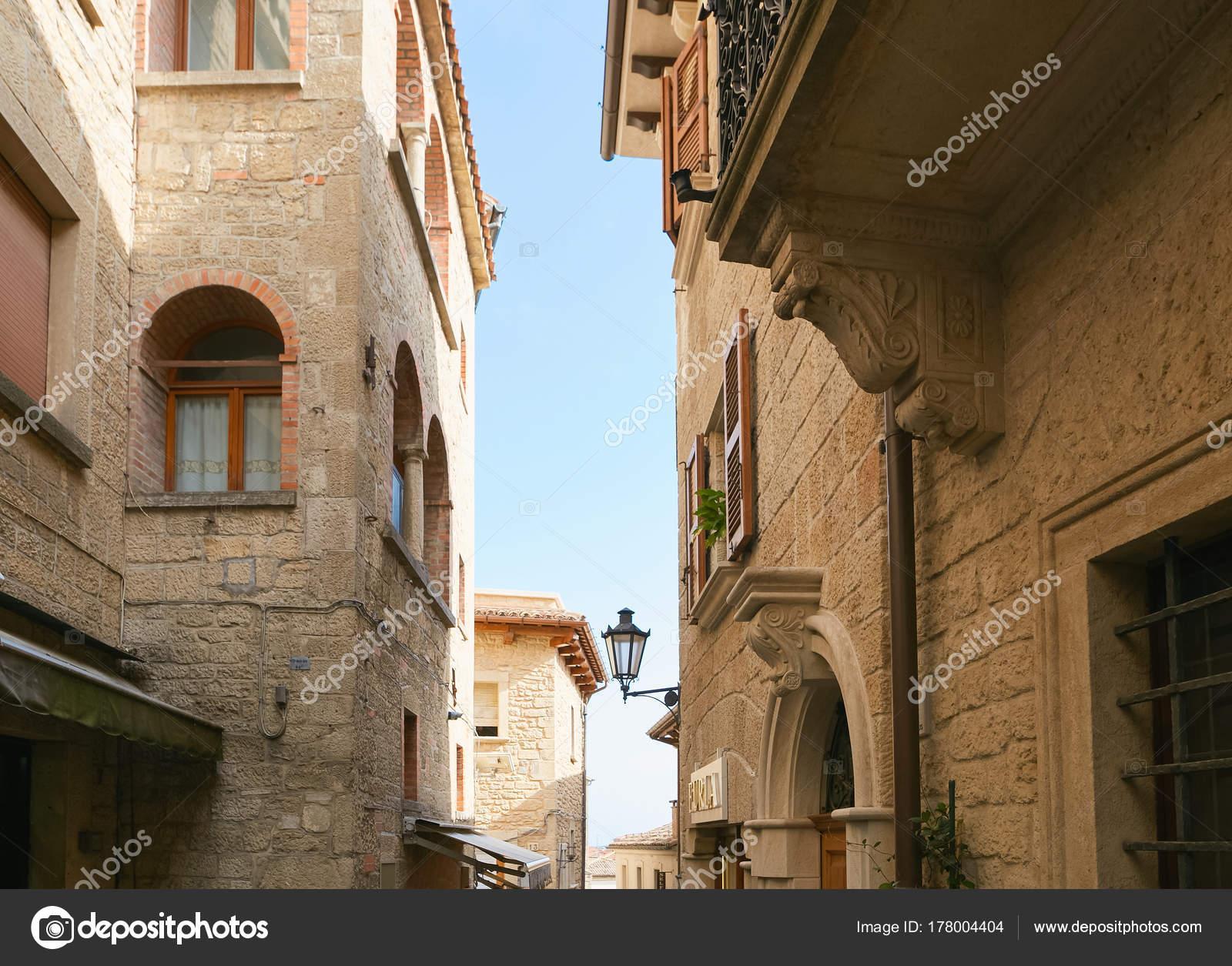 San marino, San Marino - July 10, 2017: design of a stone house with ...