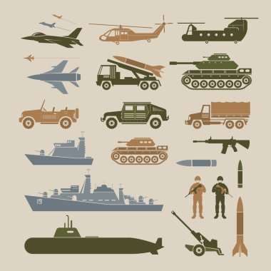 Military Vehicles Object Symbols Set, Side View