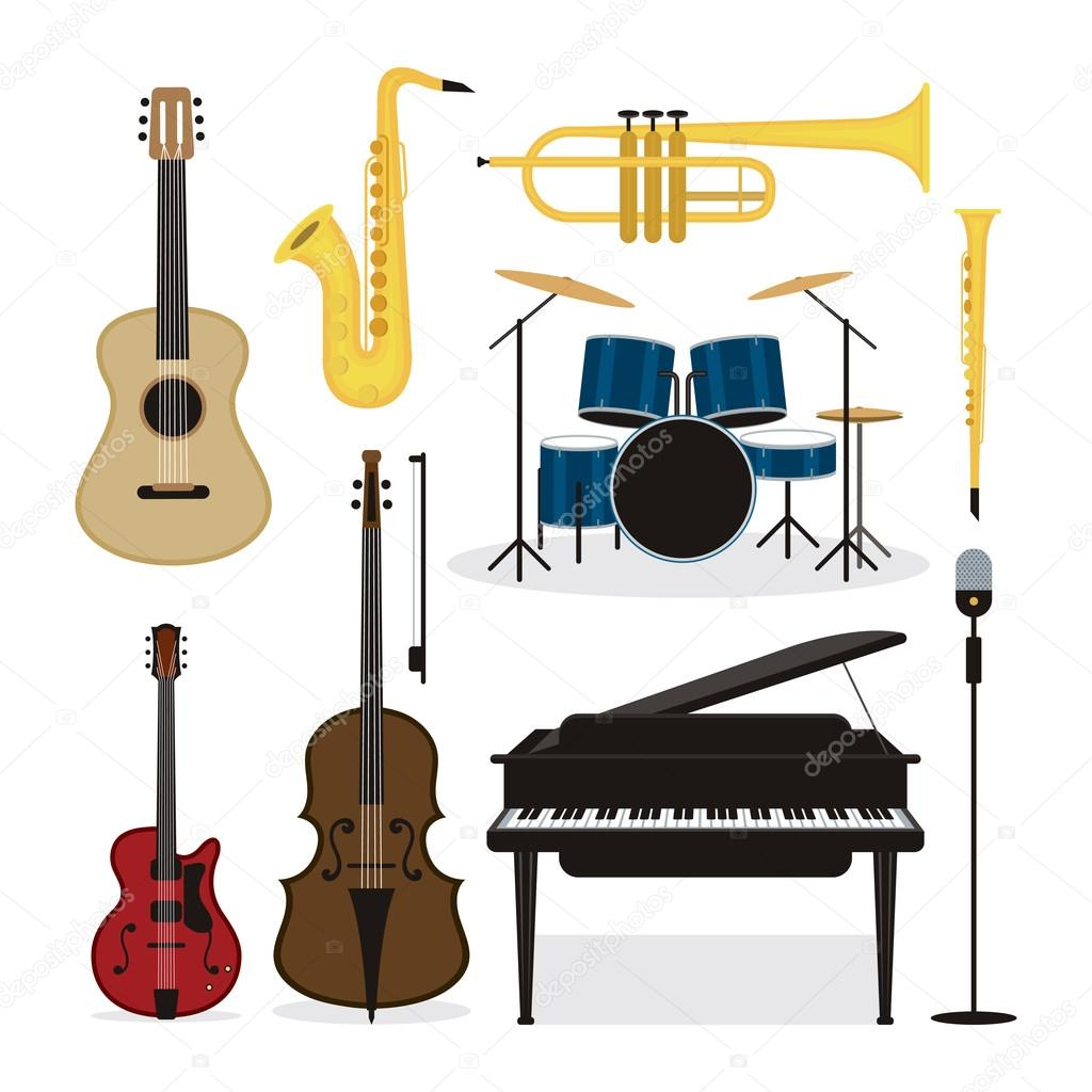 Conjunto de objetos de instrumentos de m sica jazz for Instruments de musique dax