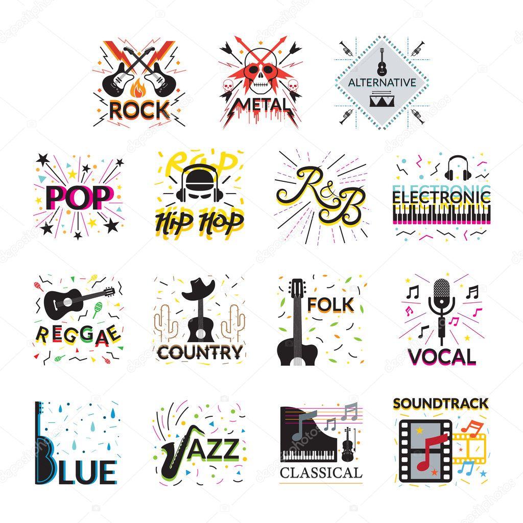 Musik-Genres Zeichen und Symbole — Stockvektor © muchmania #127324056