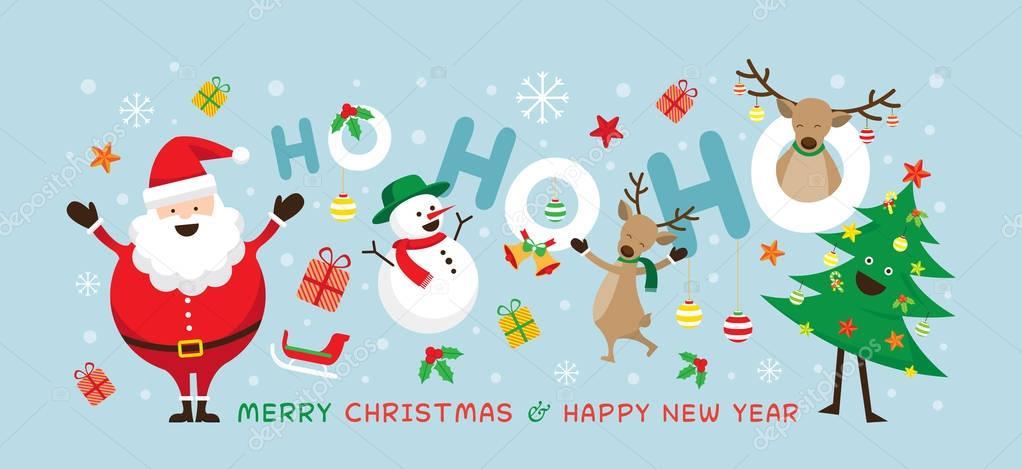 Babbo Natale Ho Ho Ho.Natale Babbo Natale Ridere Ho Ho Ho Con Gli Amici Vettoriali
