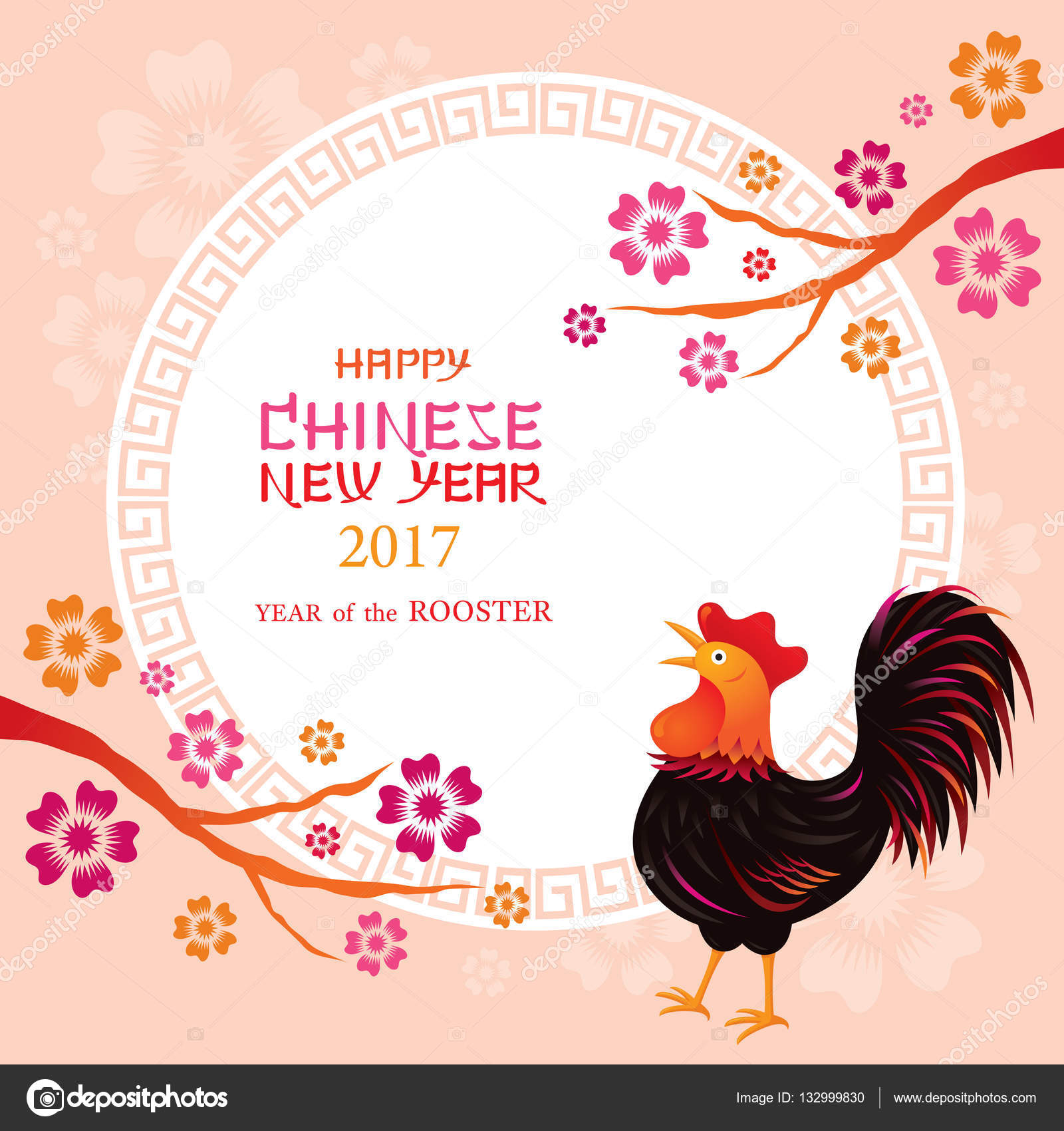 Year of Rooster Frame, Chinese New Year — Stock Vector © muchmania ...