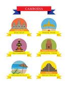 Photo Cambodia Provinces and Landmarks Icons Set