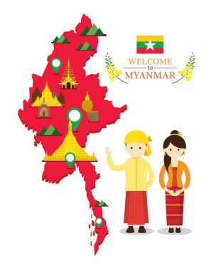 Myanmar Map and Landmarks with People in Traditional Clothing
