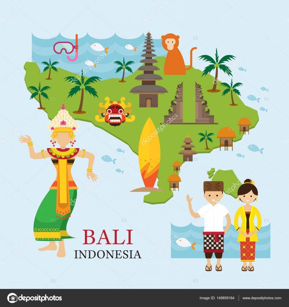 Indonesien Karte.Bali Indonesien Karte Mit Reise Und Attraktion