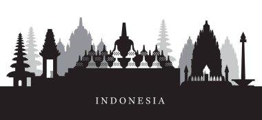 Indonesia Landmarks Skyline in Black and White Silhouette