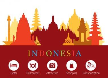 Indonesia Landmarks Skyline with Accomodation Icons
