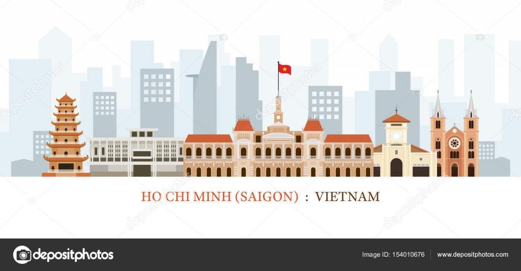 Saigon O Ciudad Ho Chi Minh Vietnam Monumentos Skyline Archivo
