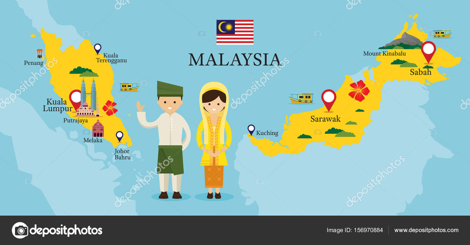 Malaysia Map and Landmarks with People in Traditional Clothing