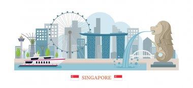 Singapore Landmarks Skyline