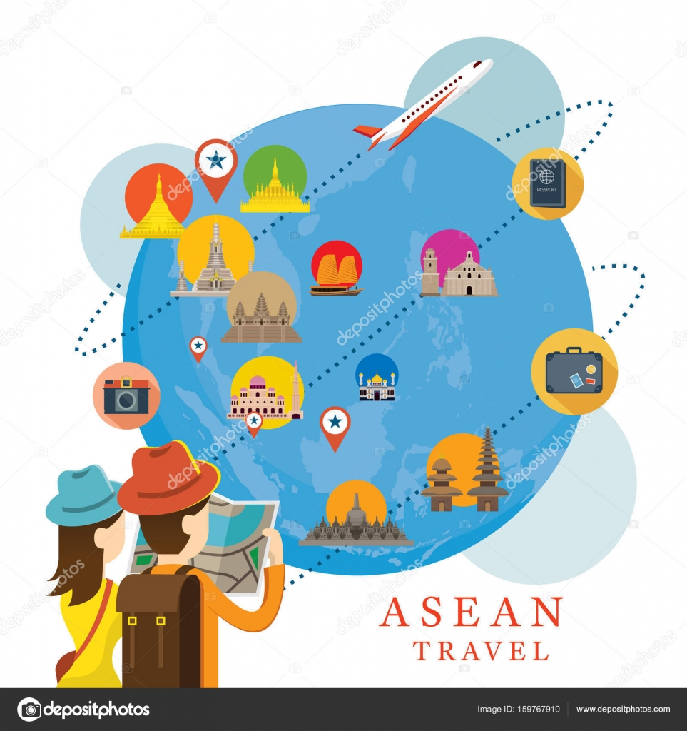 asean travel and tourist attraction vector by muchmania