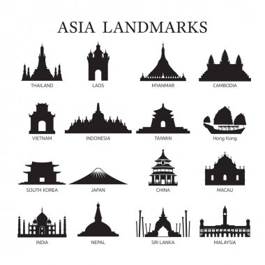 Asia Landmarks Architecture Building Silhouette Set