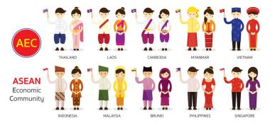 Southeast Asia People in Traditional Clothing holding Flag