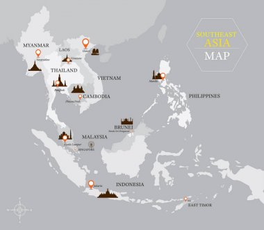 Southeast Asia Map with Country and Capital Location