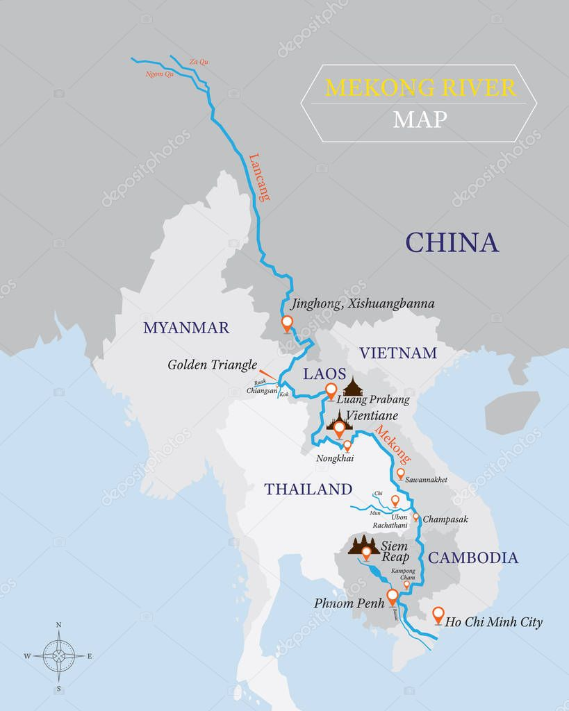 Rio Mekong Mapa Fisico.Fotos Rio Mekong Ubicacion En El Mapa Rio Mekong Mapa Con
