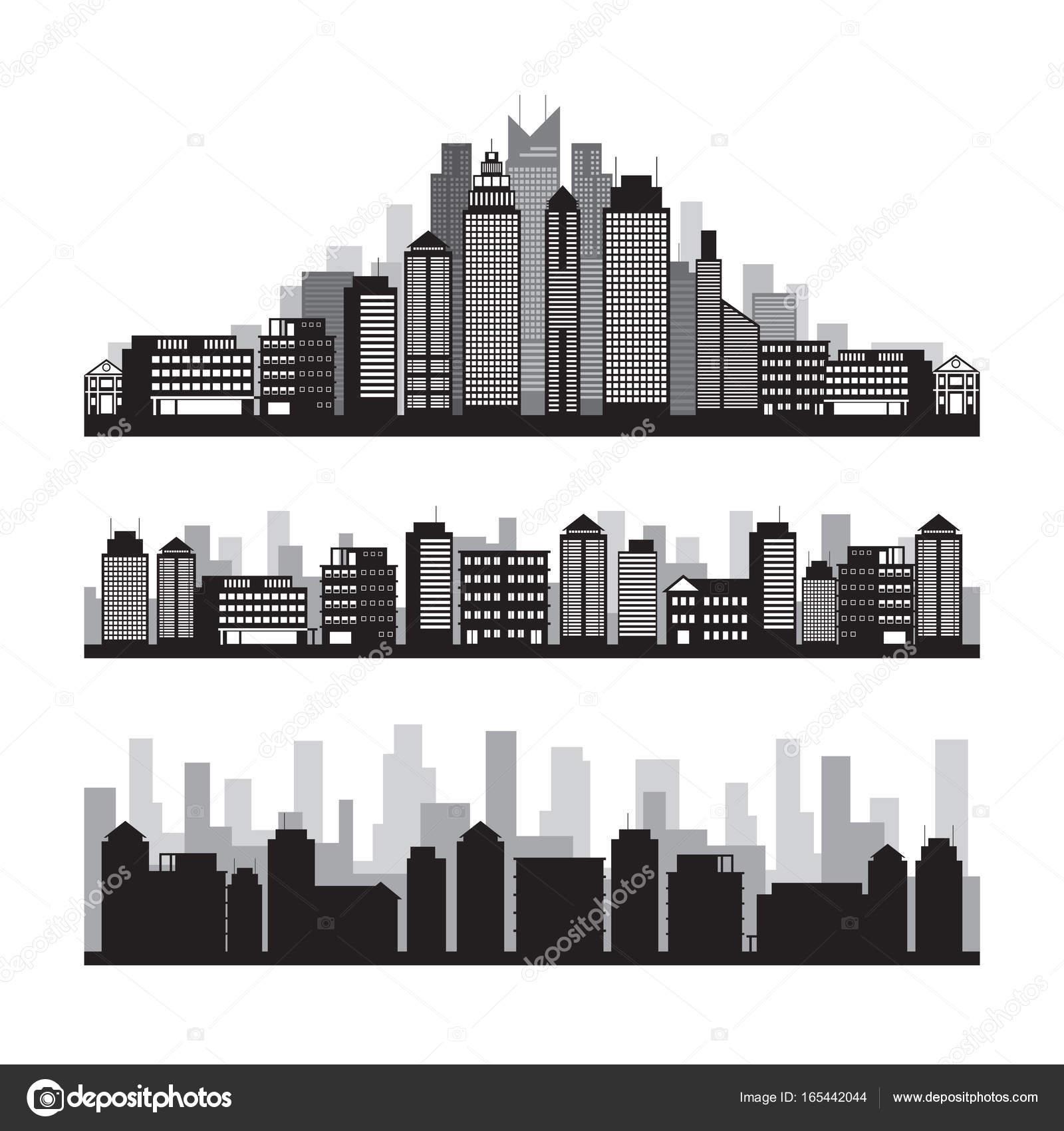 建物や高層ビルのシルエット セット \u2014 ストックベクター
