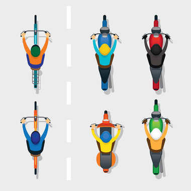 People on Motorcycles and Bicycles Top or Above View