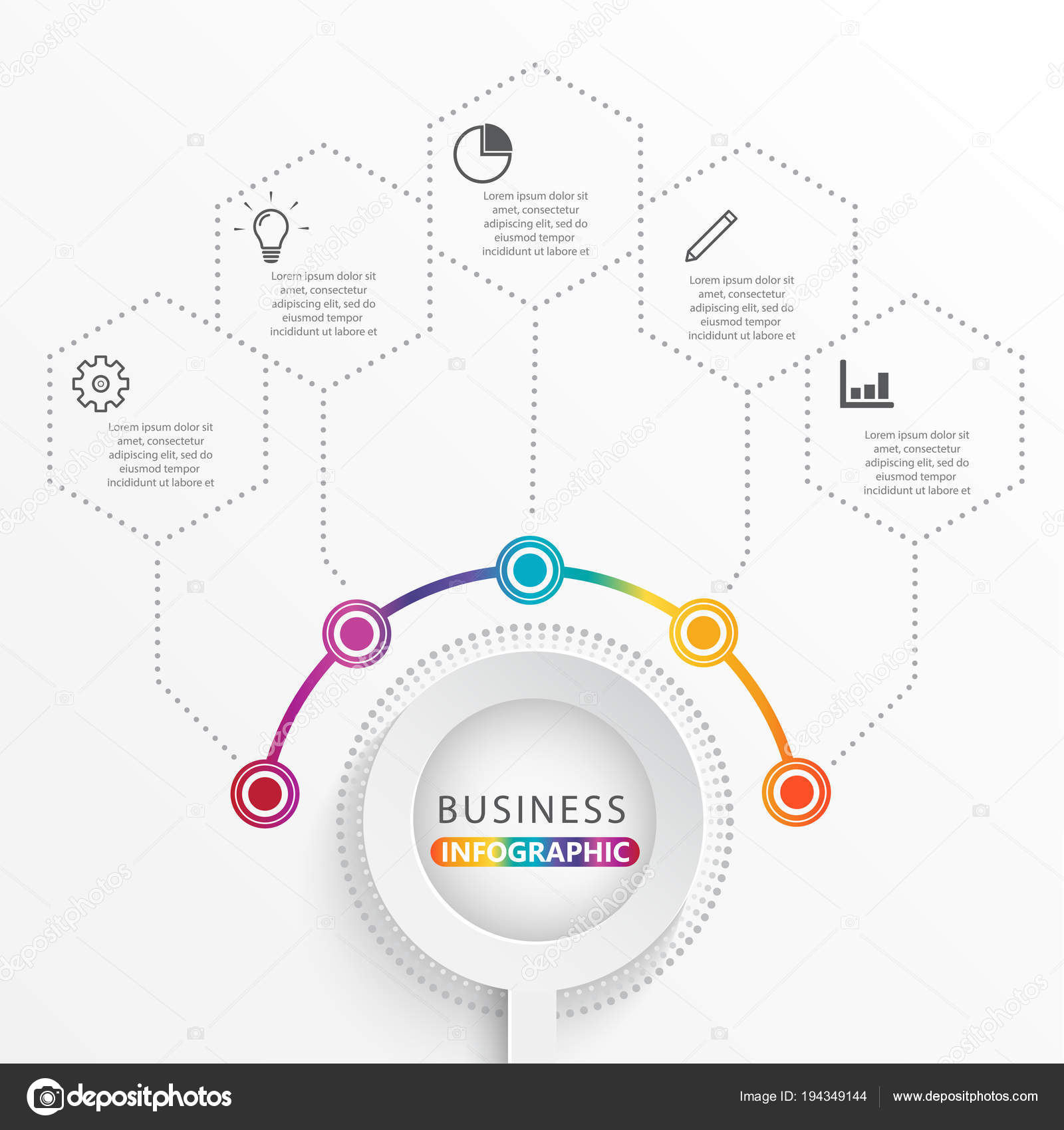 Vector infographic template paper label integrated circles business vector infographic template paper label integrated circles business concept options stock vector accmission