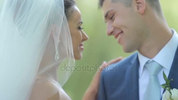 beautiful newlyweds gently embrace. young couple in love . tenderness love